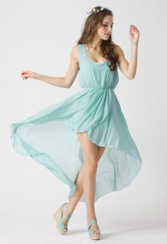 Turquoise Asymmetric Waterfall Dress by Chic