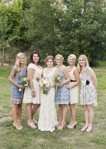 bridesmaids - french country wedding, mix matched dresses