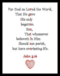 John 3:16 Valentine Art Printable