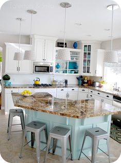wall colors, stool, paint colors, white cabinets, kitchen islands