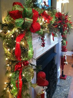 Christmas Décor using tree garland, ribbons and lights!