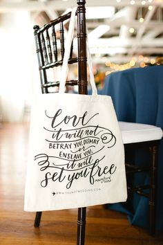 wedding favor bag, photo by Morgan Trinker http://ruffledblog.com/the-notwedding-birmingham #weddingideas #typography