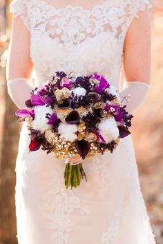 Whimsical Wedding Bouquet - See more wedding inspiration on SMP: http://www.StyleMePretty.com/little-black-book-blog/2014/02/28/purple-gold-wedding-ideas/ Picturesque Photos By Amanda | Floral Design: The French Bouquet