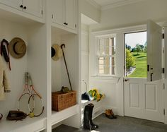 Dutch door, open lockers