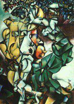 """Adam et Eve"" (1912), by Marc Chagall. Oil on canvas; Cubism; St.-Louis Art Museum"