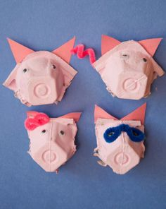 pig crafts for preschoolers, craft activities, the three little pigs craft, egg cartons, three little pigs activities, pig nose, recycled crafts