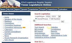 Texas Legislature Online, http://www.legis.state.tx.us/ texa legislatur