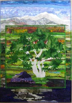 """""""Mt. Tam in the Morning"""" by Pat Dicker.  Mt Tamalpais State Park, landscape art quilt"""