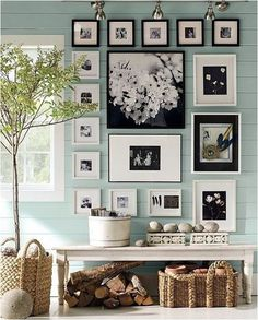 black and white photo display   pottery barn wall colors, blue wall, frame wall, photo wall, black white, picture walls, picture frames, frame collages, photo collages