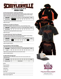 An order form for embroidery items for Val's Sporting Goods created in Photoshop and InDesign.