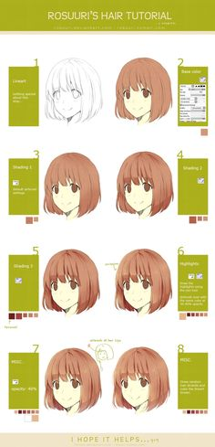 Hair Tutorial by rosuuri.deviantart.com on @deviantART ✤    CHARACTER DESIGN REFERENCES  