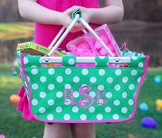 holiday, little girls, idea, polka dots, green, monogram, minis, baskets, easter basket