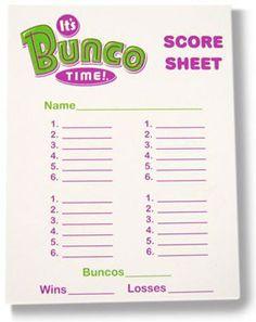 Bunco Tally Sheet Free More