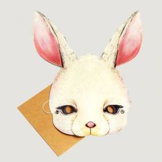 rabbit parti, easter, dinner partiesev, parti mask, facemask card, face masks, cards, bunni facemask, rabbit mask