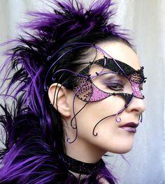 costum, purple hair, masquerade masks, masquerad mask, cyber goth, goth masquerad, masquerades, black, masquerade party