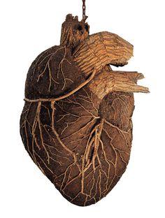 Dimitri Tsykalov, Heart, 2002, wood, bark and soil