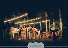 #backyard wedding #outdoor reception #twinkle lights