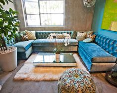 Living Room Blue Velvet Sectional Design, Pictures, Remodel, Decor and Ideas - page 56