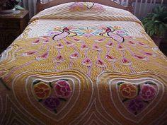Pretty bright Sunny yellow double peacock chenille bedspread