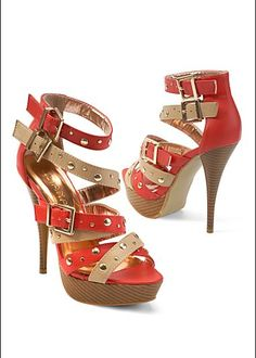Buckle studded strappy heel   $34 hot shoes, stud strappi, strappi heel, colors, green, awesom shoe, heels, venus, buckl stud