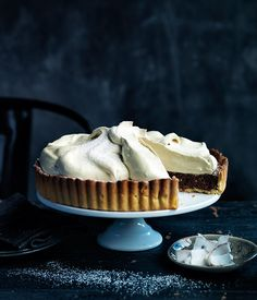 Chocolate coconut meringue pie recipe | Gourmet Traveller chocolates, meringu pie, coconut meringu, coconuts, chocol coconut, food, pies, gourmet travel, pie recipes