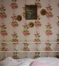 "Bedroom with Cath Kidston's ""Paris Rose Pink"" wallpaper"