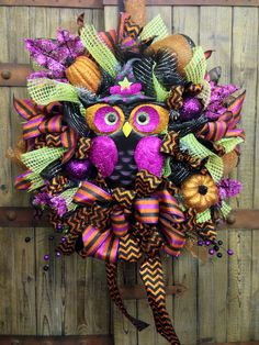 Halloween Owl Mesh Wreath with glitter pumpkins on Etsy