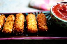 Panko mozzarella sticks from The Pioneer Woman. So easy! #cheese #recipe #food