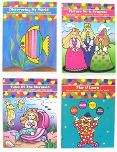Set of 4 DO A DOT coloring books specifically to accompany the Do A Dot dauber type markers.  Great fun indoor or outdoor.