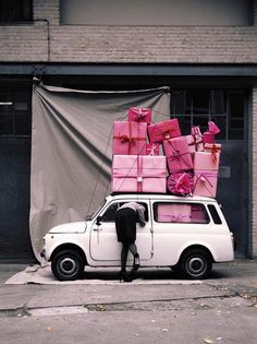 holiday, pink pink pink, shop, gift, happy birthdays, pink christmas, valentine day, fiat 500, special delivery