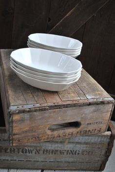 Vintage White Ironstone Serving Bowls