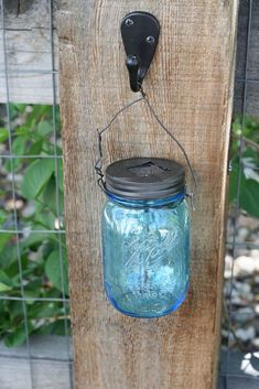 Solar lights in a blue mason jar