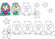 Spiffy up an owl. Fun drawing/doodling project. Could be a fun class project at beginning of the year.