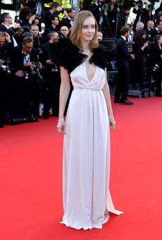 Olga Sorokina in black and white gown in Cannes 2013