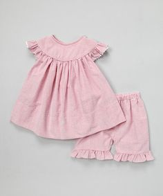 Loving this Red Angel-Sleeve Top & Shorts - Infant, Toddler & Girls on #zulily! #zulilyfinds