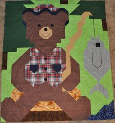 "Clearance Quilt Pattern - Counted Quilts ""Fishing Bear"""