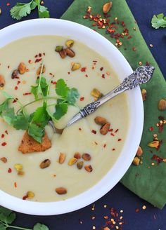 Creamy Cauliflower Soup w/ Pistachio Harissa Pesto #glutenfree #vegan