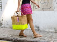 DIY: neon market bag