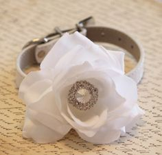 White Wedding Dog Collar White Floral Dog collar by LADogStore, $42.50