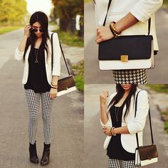 White Blazer + Black Tank + Hounds-tooth Leggings + Black Ankle Boots + Gold Geometric Pendant Necklace