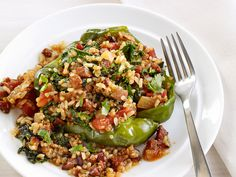 Cajun Stuffed Peppers -- filled with brown rice and quinoa