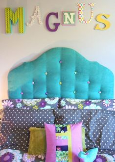 cute teen room by 7 Layer Studio... with instructions on how to make a fabric covered headboard!