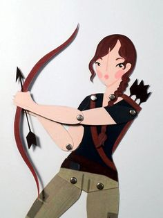 The Hunger Games Katniss articulated paper doll by LeaseAPenny (lisa Penney)