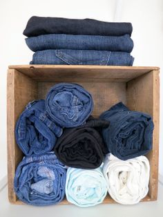 Rolling clothing makes easier storage, visibility, and even removal...and with a material like denim, wrinkling isn't an issue!