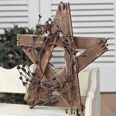 Tobacco Stick Star with Pip Berries and Rusty Stars