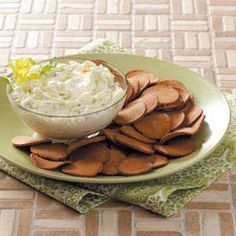 Cucumber Onion Dip Recipe from Taste of Home -- shared by Judith Priglmeier of Aitkin, Minnesota