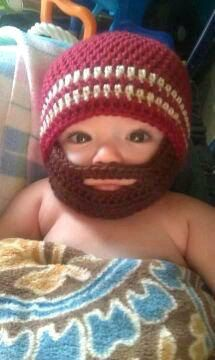 Crochet Baby Boy Beanie with Beard Hat - MADE TO ORDER. $25.00, via Etsy.