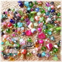 12 Variety Beaded Charms Trinkets by SweetlyScrappedArt on Etsy, $4.50
