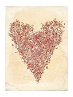 Love art print in red