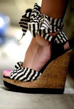 Stripe wrap wedges summer dresses, fashion, heel, wedges, closet, stripes, tie wedg, shoe, stripe wedg